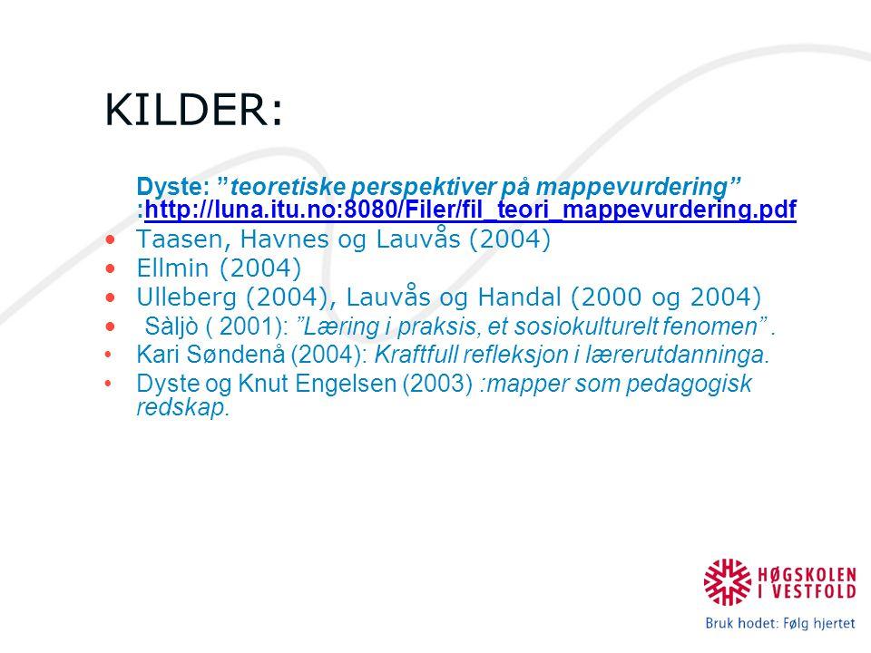 KILDER: Taasen, Havnes og Lauvås (2004) Ellmin (2004)