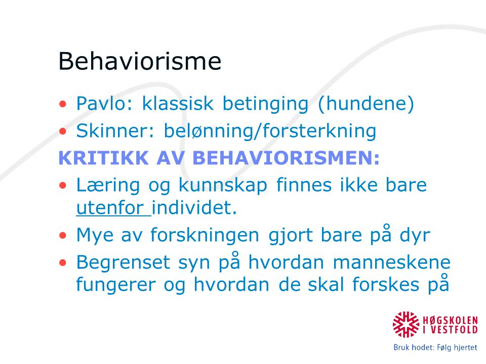 Behaviorisme Pavlo: klassisk betinging (hundene)