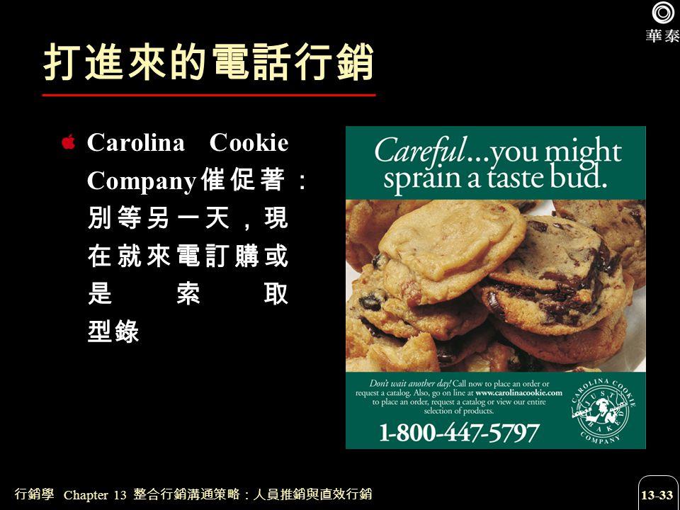 打進來的電話行銷 Carolina Cookie Company催促著:別等另一天,現在就來電訂購或是索取 型錄
