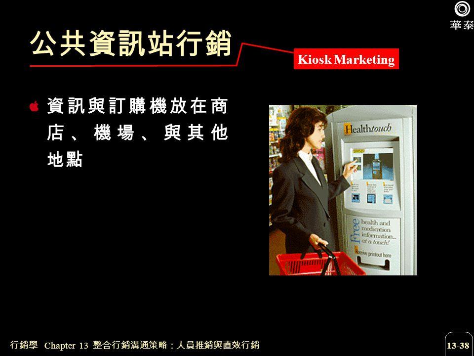 公共資訊站行銷 資訊與訂購機放在商店、機場、與其他 地點 Kiosk Marketing