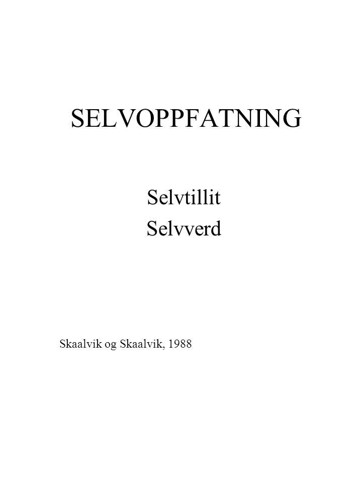 Selvtillit Selvverd Skaalvik og Skaalvik, 1988