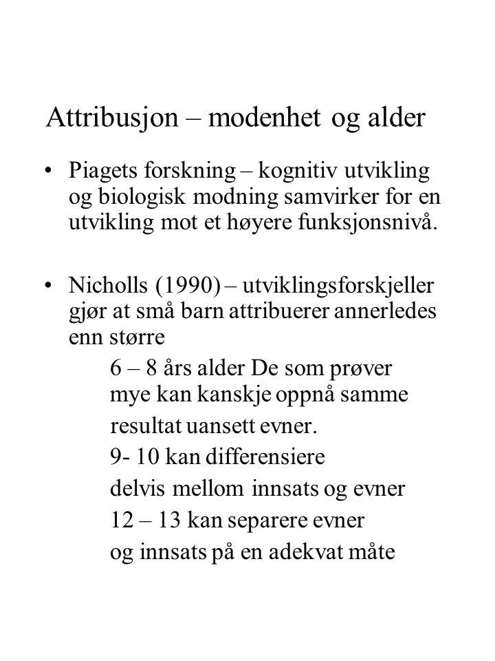 Attribusjon – modenhet og alder