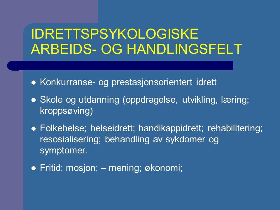 IDRETTSPSYKOLOGISKE ARBEIDS- OG HANDLINGSFELT