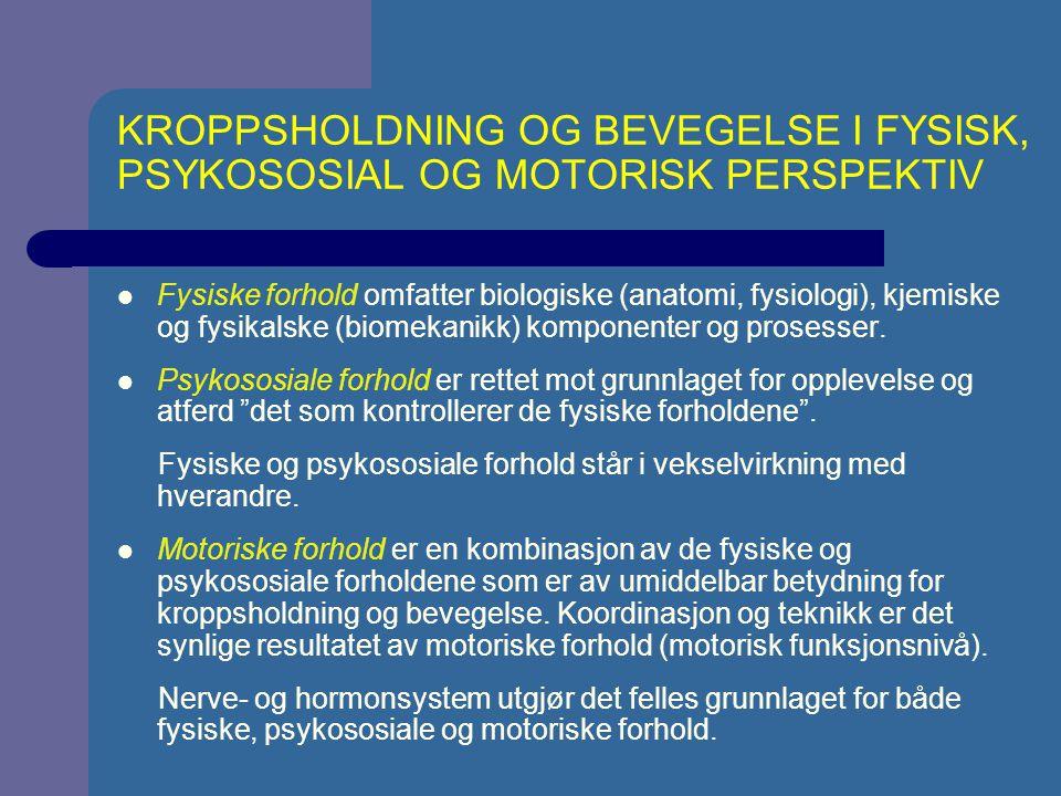 KROPPSHOLDNING OG BEVEGELSE I FYSISK, PSYKOSOSIAL OG MOTORISK PERSPEKTIV