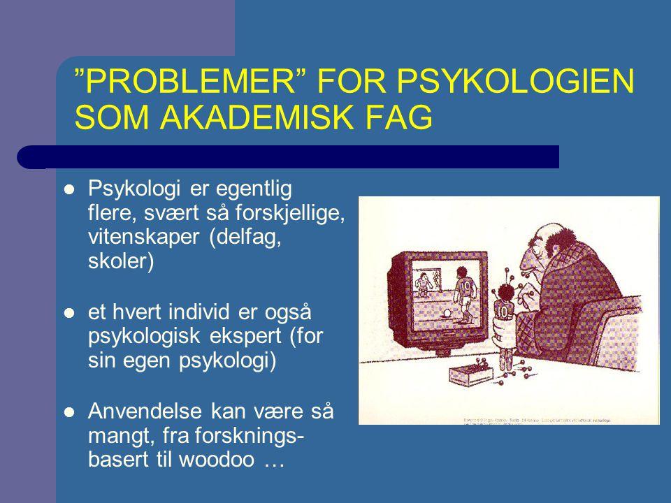 PROBLEMER FOR PSYKOLOGIEN SOM AKADEMISK FAG