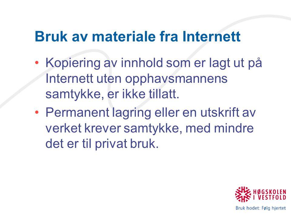 Bruk av materiale fra Internett