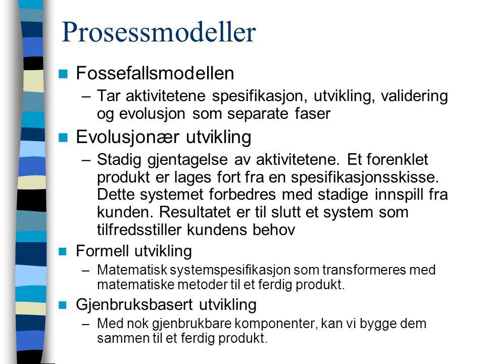 Prosessmodeller Fossefallsmodellen Evolusjonær utvikling