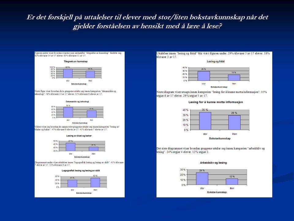 Er det forskjell på uttalelser til elever med stor/liten bokstavkunnskap når det gjelder forståelsen av hensikt med å lære å lese