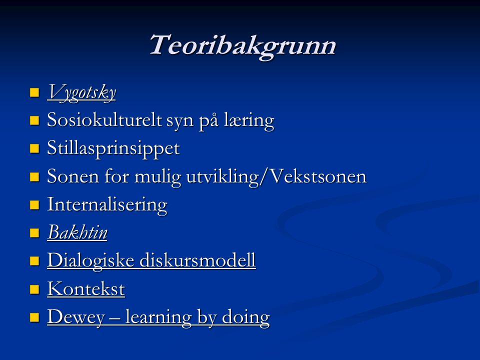 Teoribakgrunn Vygotsky Sosiokulturelt syn på læring Stillasprinsippet