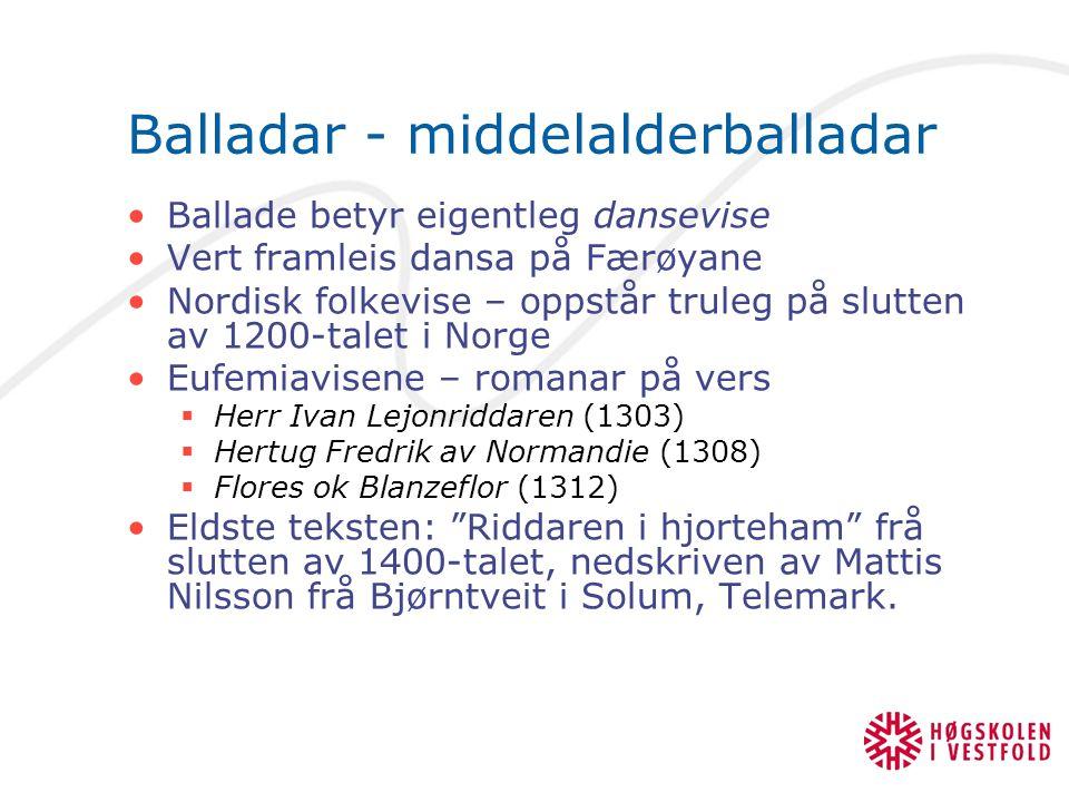Balladar - middelalderballadar