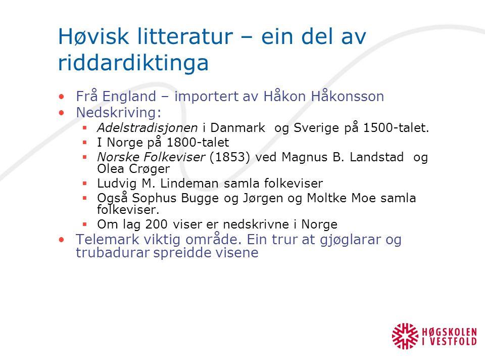 Høvisk litteratur – ein del av riddardiktinga