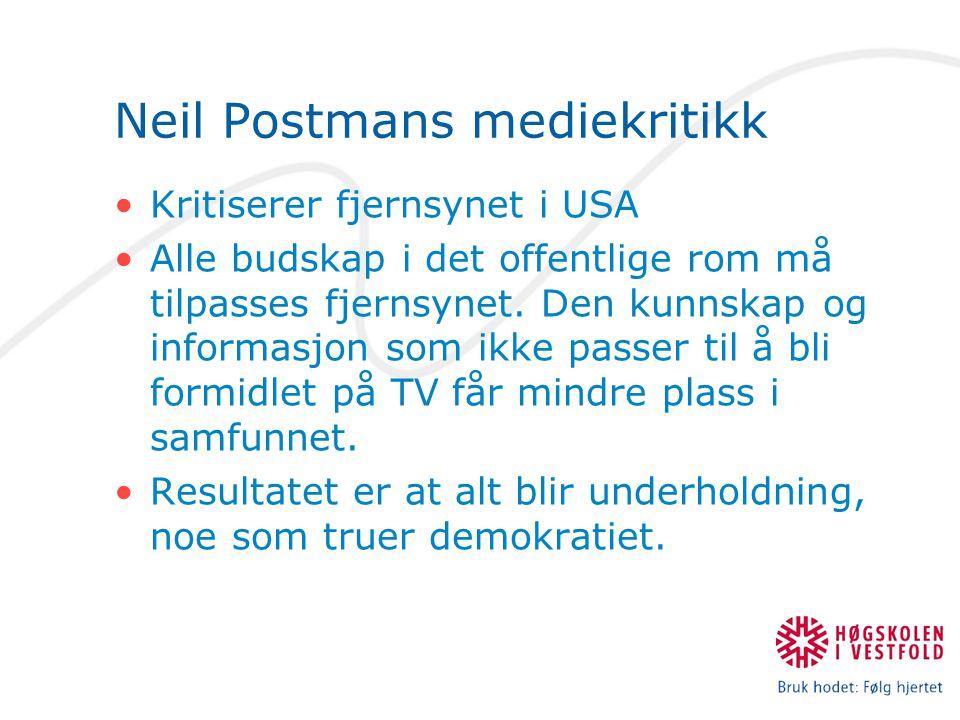 Neil Postmans mediekritikk