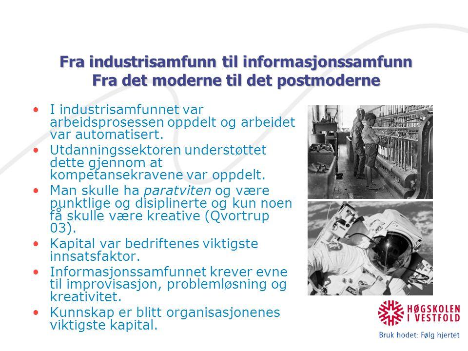 Fra industrisamfunn til informasjonssamfunn Fra det moderne til det postmoderne