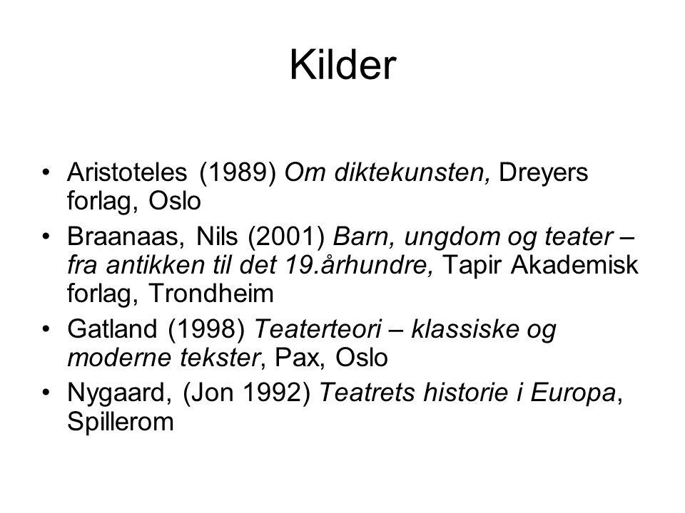 Kilder Aristoteles (1989) Om diktekunsten, Dreyers forlag, Oslo