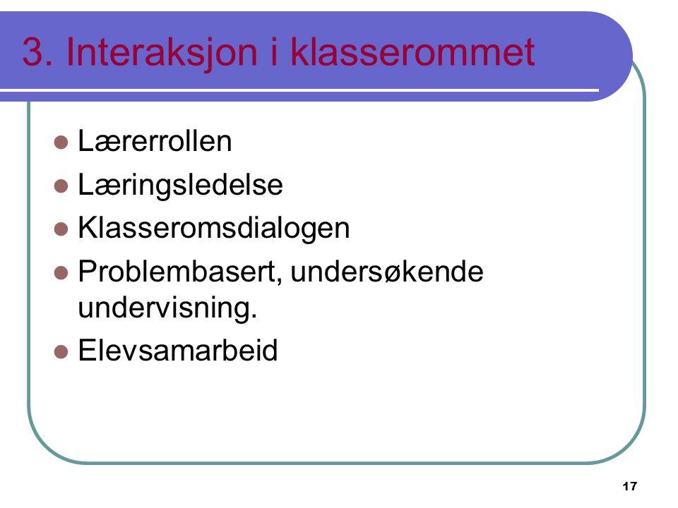 3. Interaksjon i klasserommet