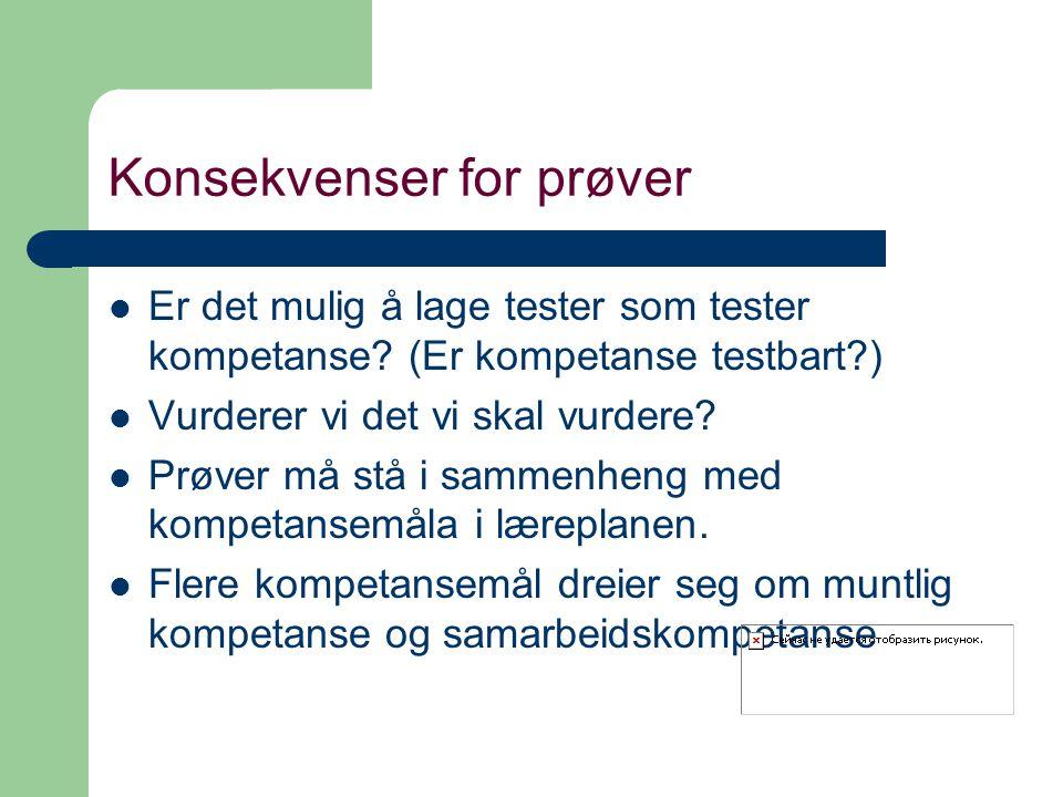 Konsekvenser for prøver