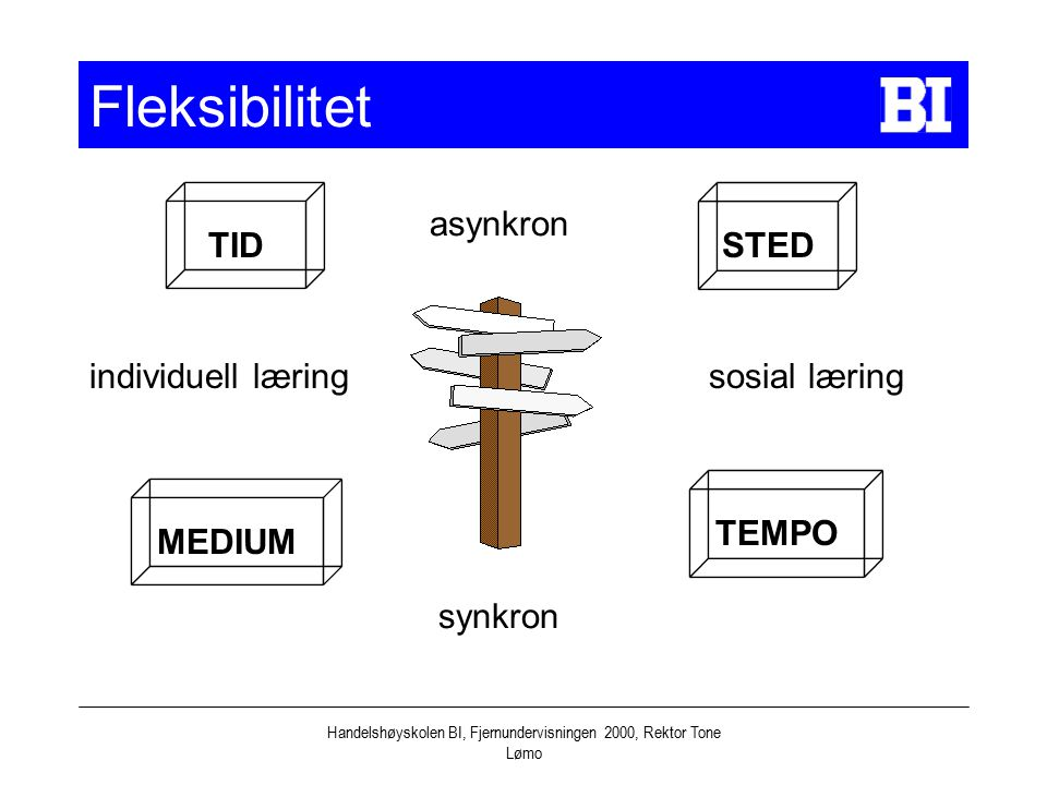 Handelshøyskolen BI, Fjernundervisningen 2000, Rektor Tone Lømo