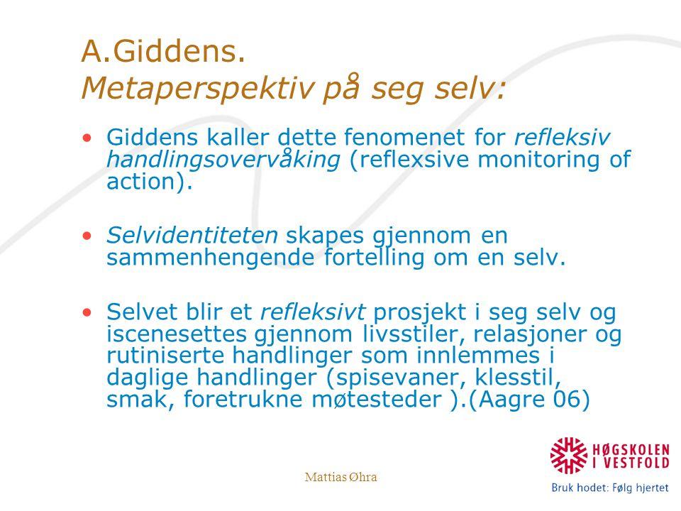A.Giddens. Metaperspektiv på seg selv: