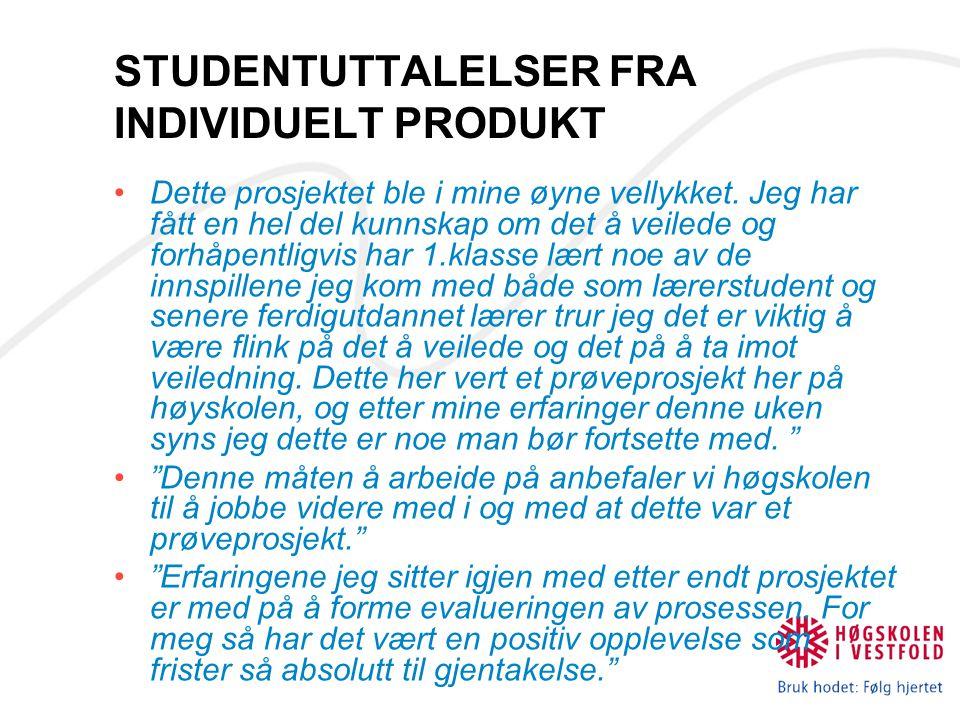 STUDENTUTTALELSER FRA INDIVIDUELT PRODUKT