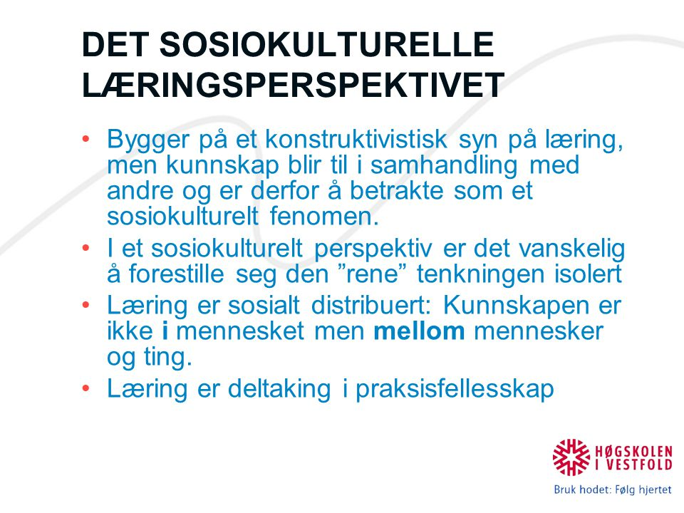 DET SOSIOKULTURELLE LÆRINGSPERSPEKTIVET