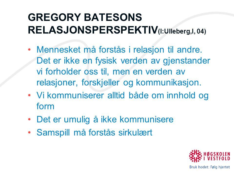 GREGORY BATESONS RELASJONSPERSPEKTIV(I:Ulleberg,I, 04)