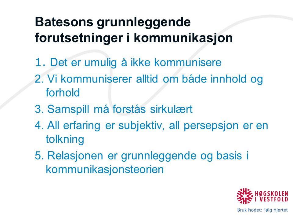 Batesons grunnleggende forutsetninger i kommunikasjon