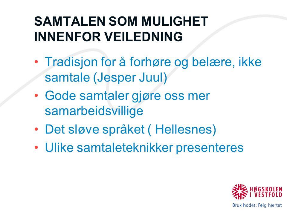 SAMTALEN SOM MULIGHET INNENFOR VEILEDNING