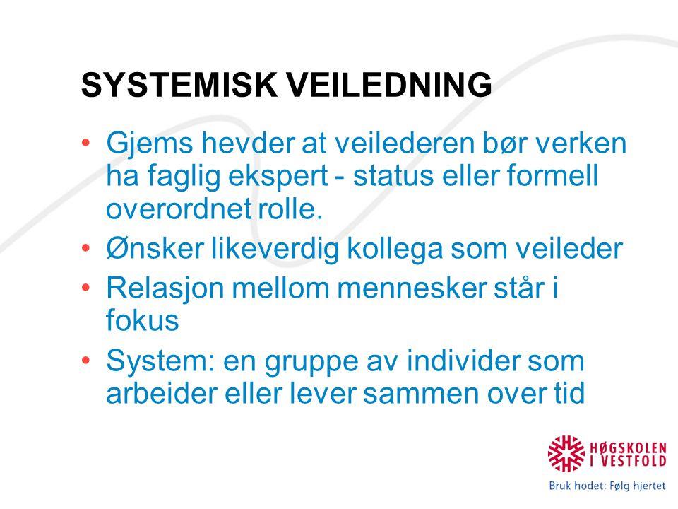 SYSTEMISK VEILEDNING Gjems hevder at veilederen bør verken ha faglig ekspert - status eller formell overordnet rolle.