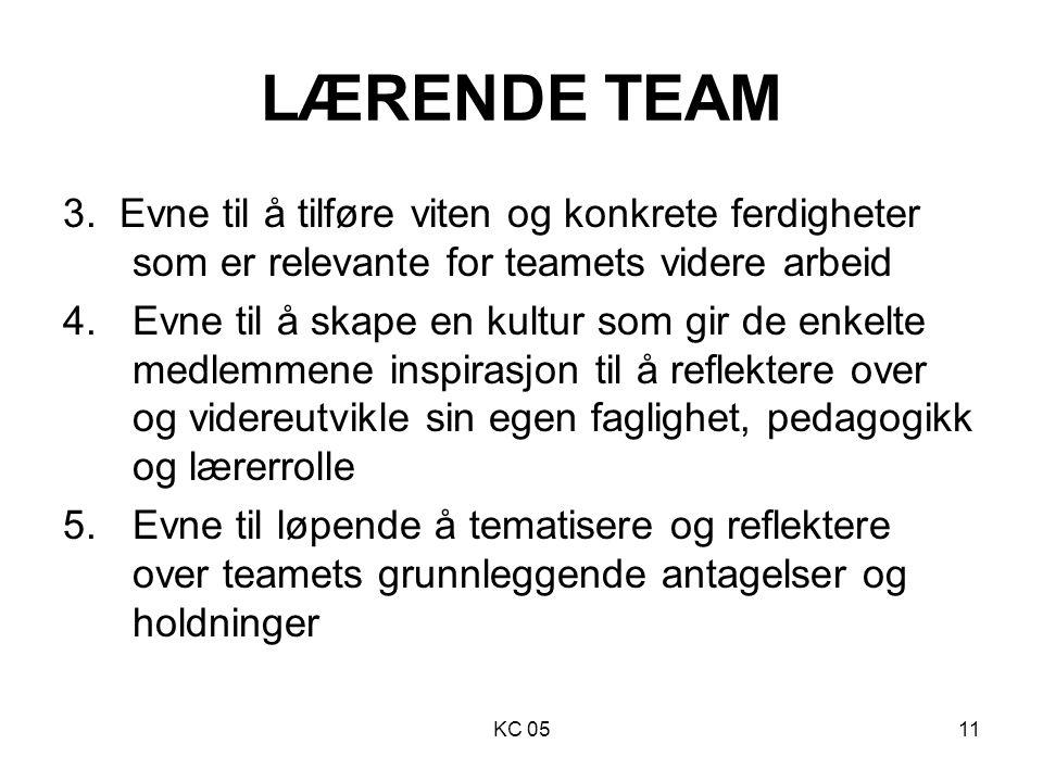 LÆRENDE TEAM 3. Evne til å tilføre viten og konkrete ferdigheter som er relevante for teamets videre arbeid.