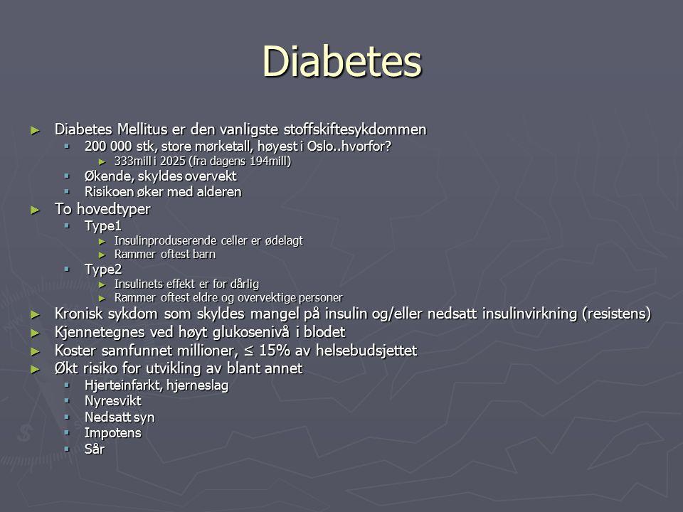 Diabetes Diabetes Mellitus er den vanligste stoffskiftesykdommen