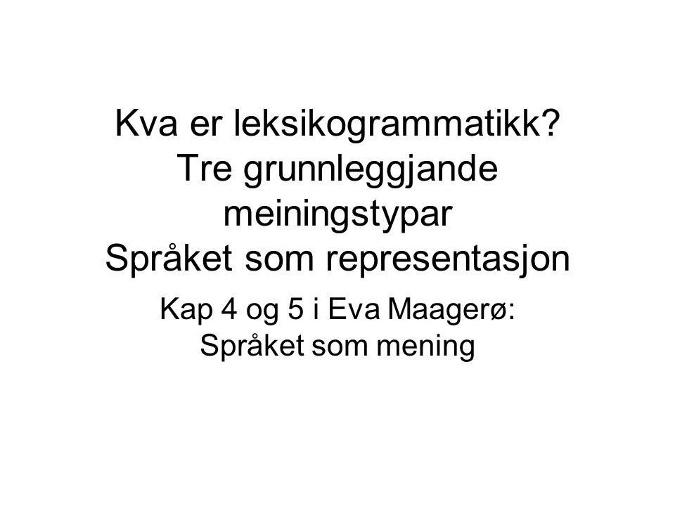 Kap 4 og 5 i Eva Maagerø: Språket som mening