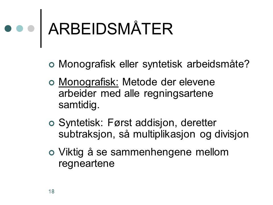 ARBEIDSMÅTER Monografisk eller syntetisk arbeidsmåte