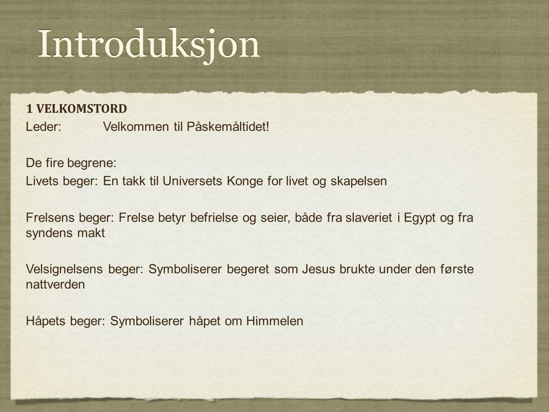 Introduksjon 1 VELKOMSTORD Leder: Velkommen til Påskemåltidet!