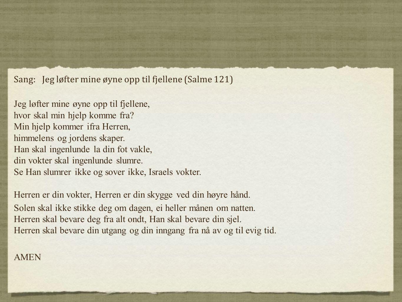 Sang: Jeg løfter mine øyne opp til fjellene (Salme 121)