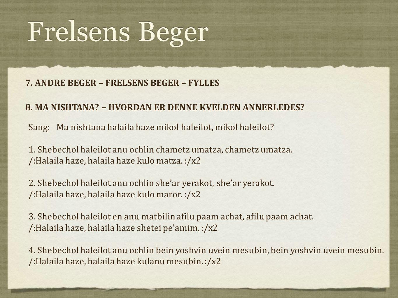 Frelsens Beger 7. ANDRE BEGER – FRELSENS BEGER – FYLLES