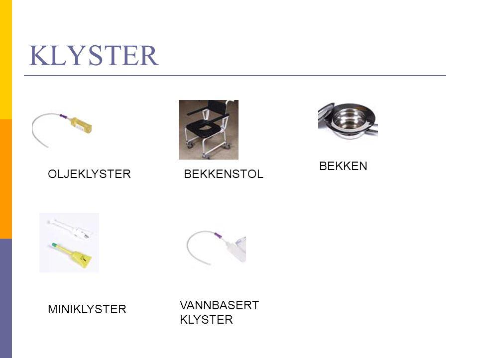 KLYSTER BEKKEN OLJEKLYSTER BEKKENSTOL VANNBASERT KLYSTER MINIKLYSTER