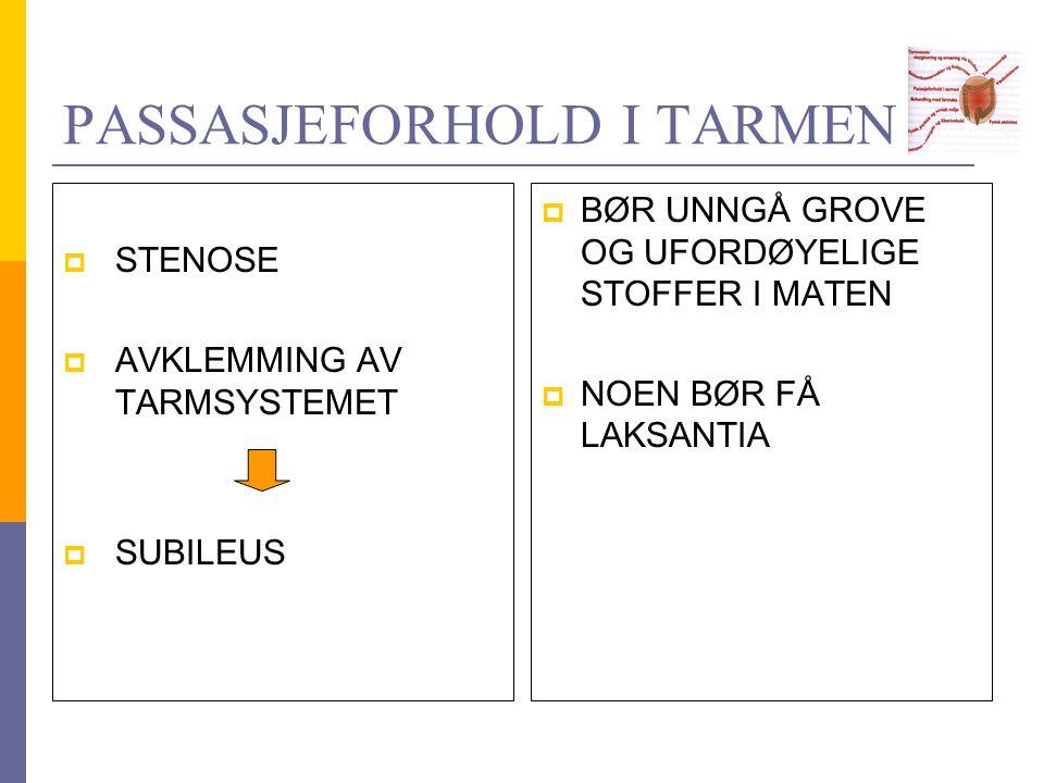 PASSASJEFORHOLD I TARMEN