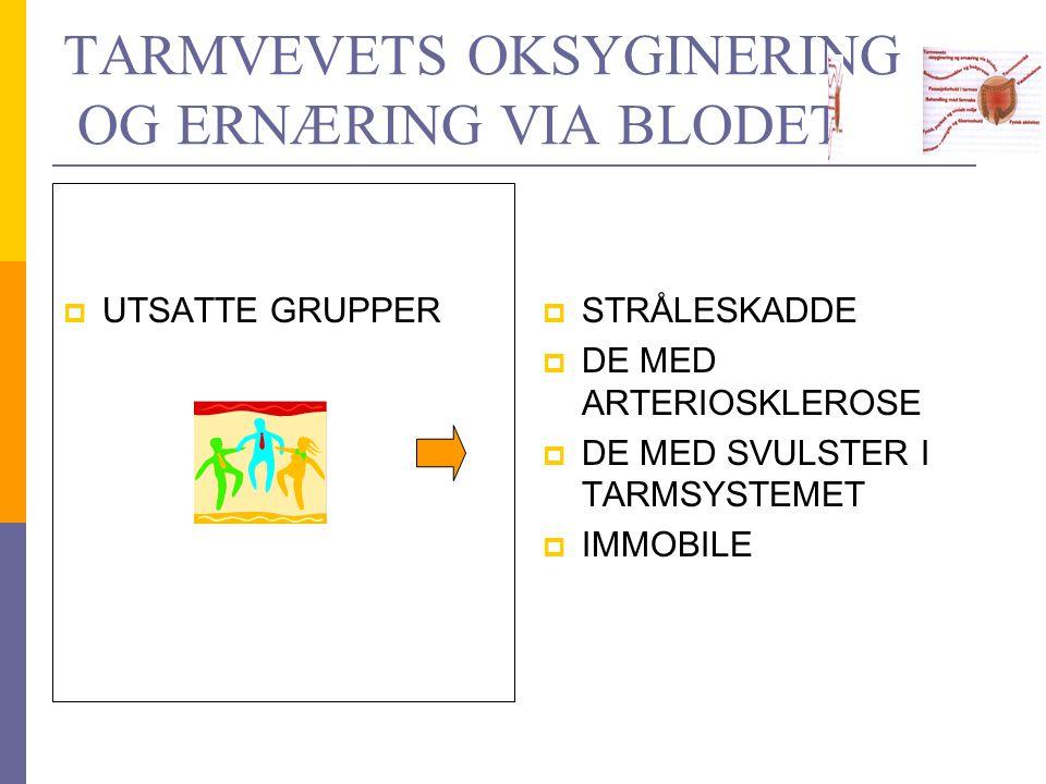 TARMVEVETS OKSYGINERING OG ERNÆRING VIA BLODET