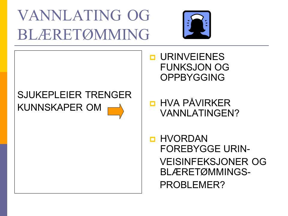 VANNLATING OG BLÆRETØMMING