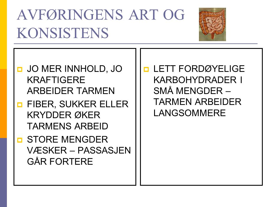 AVFØRINGENS ART OG KONSISTENS