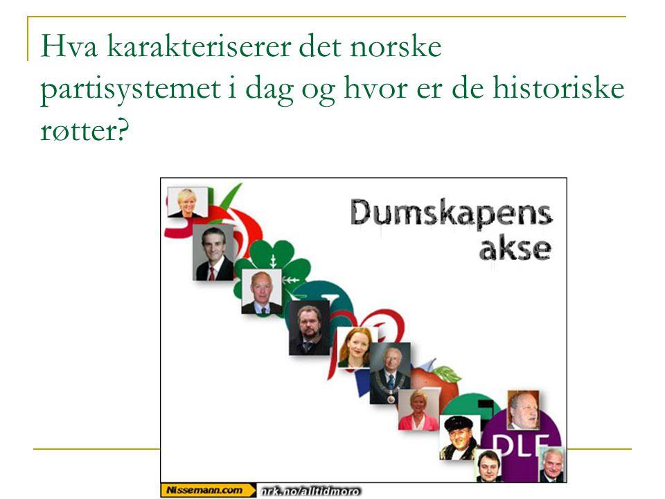 Hva karakteriserer det norske partisystemet i dag og hvor er de historiske røtter