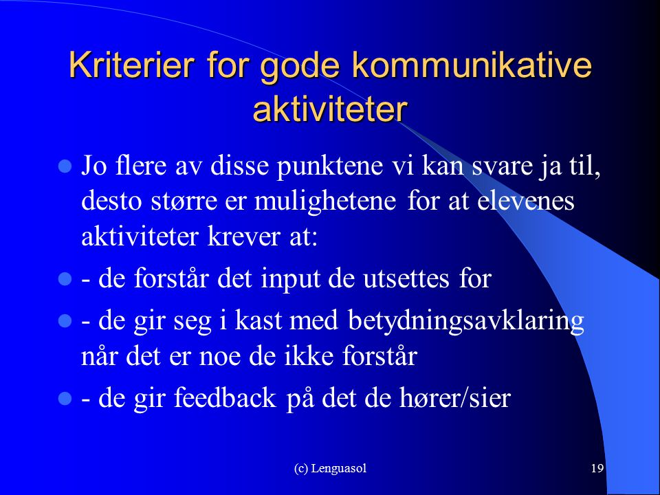 Kriterier for gode kommunikative aktiviteter