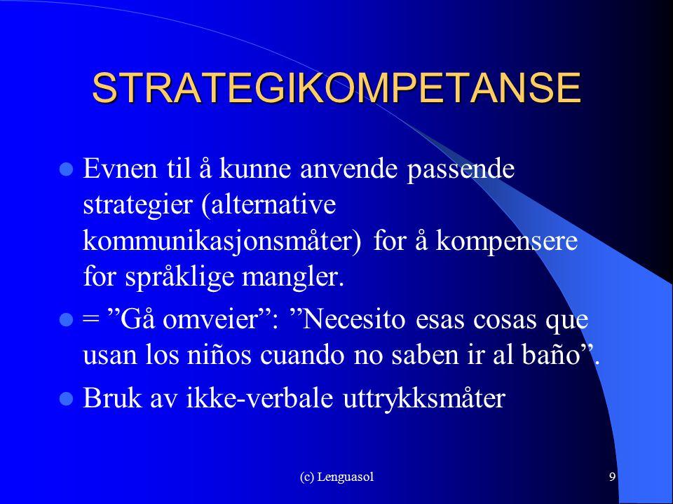 STRATEGIKOMPETANSE Evnen til å kunne anvende passende strategier (alternative kommunikasjonsmåter) for å kompensere for språklige mangler.