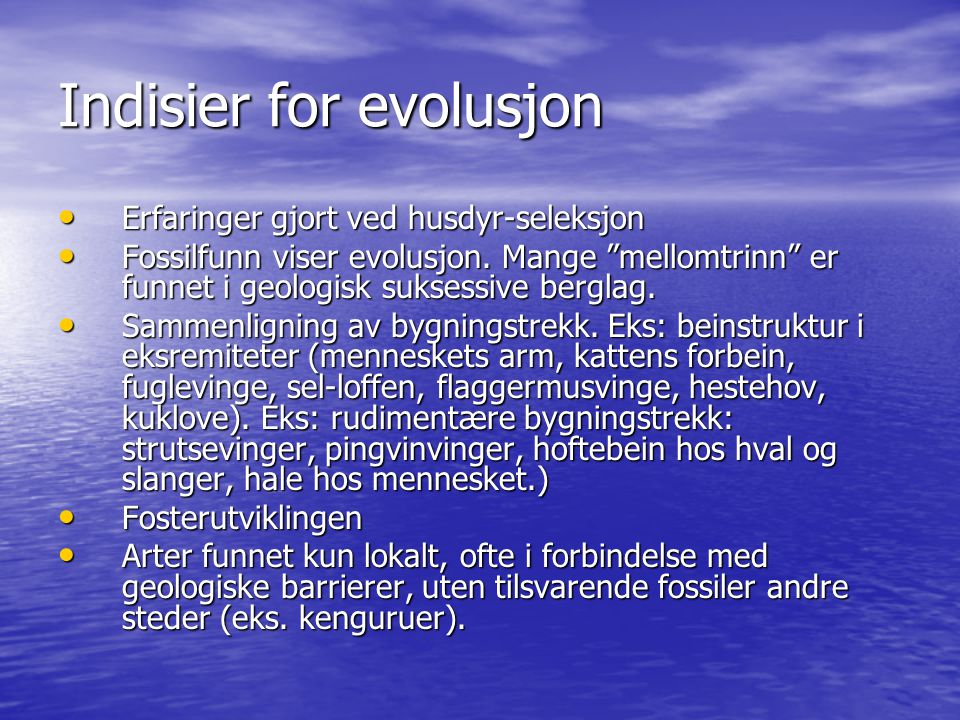 Indisier for evolusjon