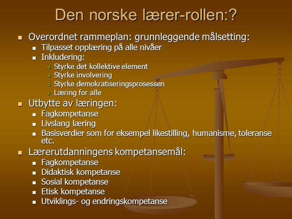Den norske lærer-rollen: