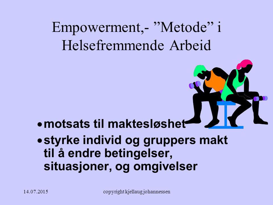 Empowerment,- Metode i Helsefremmende Arbeid