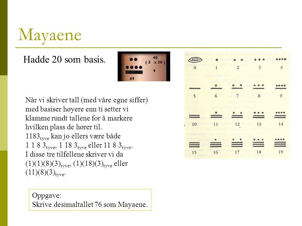 Mayaene Hadde 20 som basis.