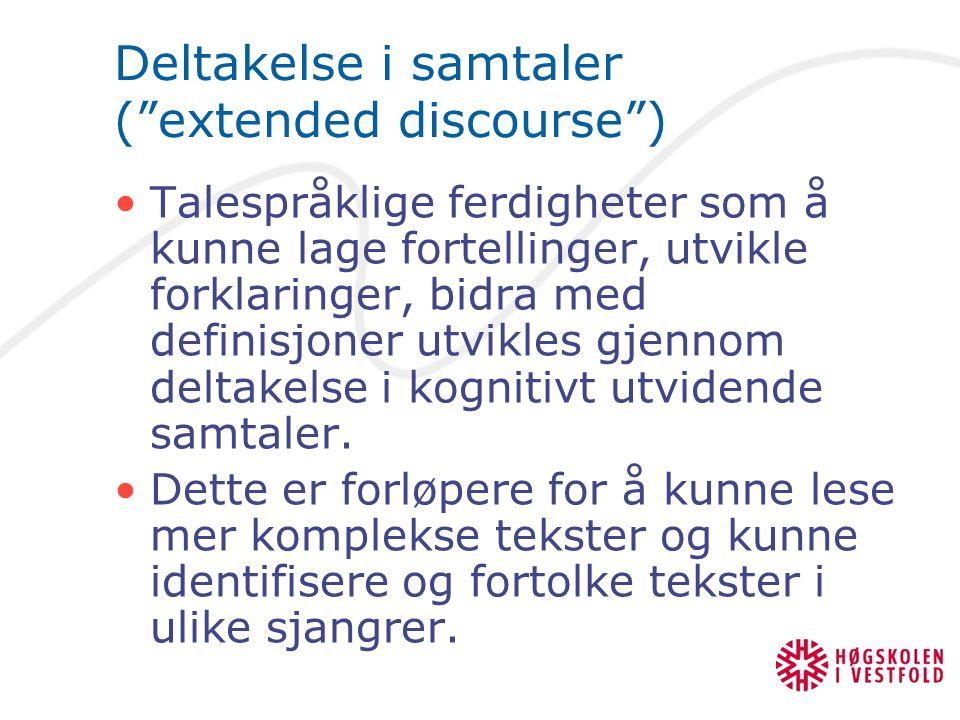 Deltakelse i samtaler ( extended discourse )