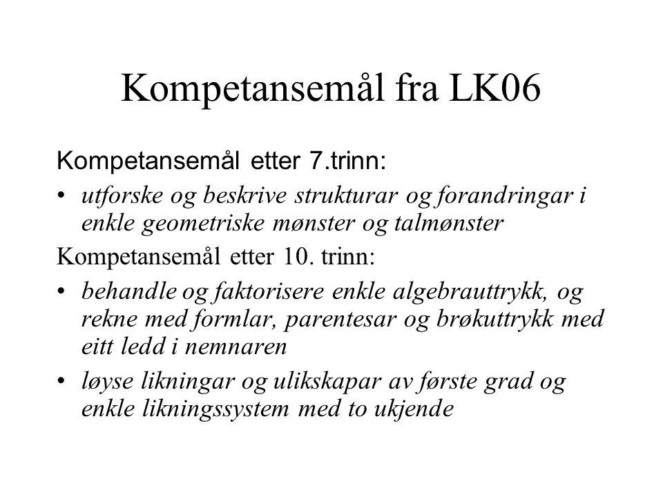 Kompetansemål fra LK06 Kompetansemål etter 7.trinn:
