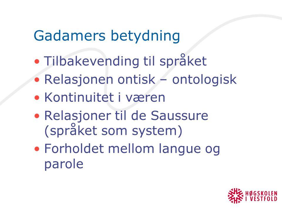 Gadamers betydning Tilbakevending til språket